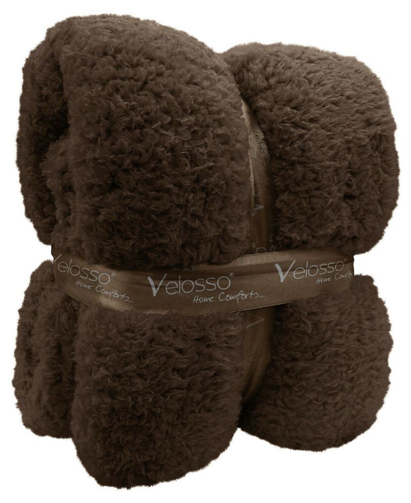 TEDDY BEAR FLEECE SOFT WARM LUXURY THICK CUDDLE THROW PLUSH BLANKET BROWN COLOUR